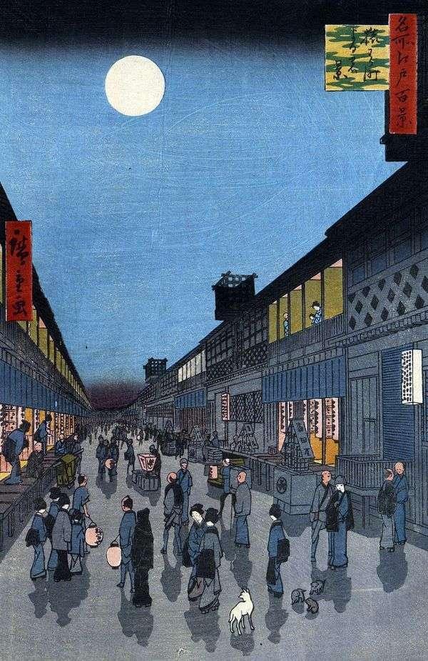 Saruvaka mati quarter的夜景   Utagawa Hiroshige