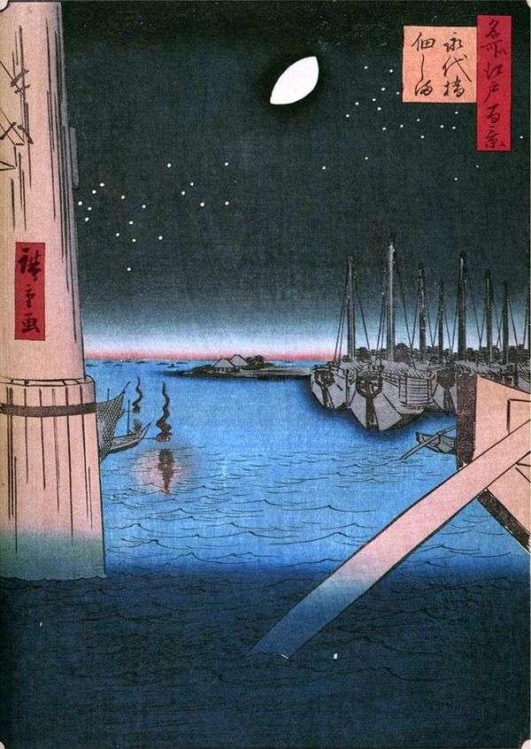 来自Eitashibi Bridge的Tsukudajima岛   Utagawa Hiroshige