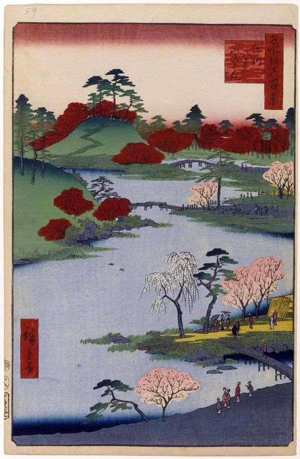 在深川的Hatiman避难所发现一座山   Utagawa Hiroshige
