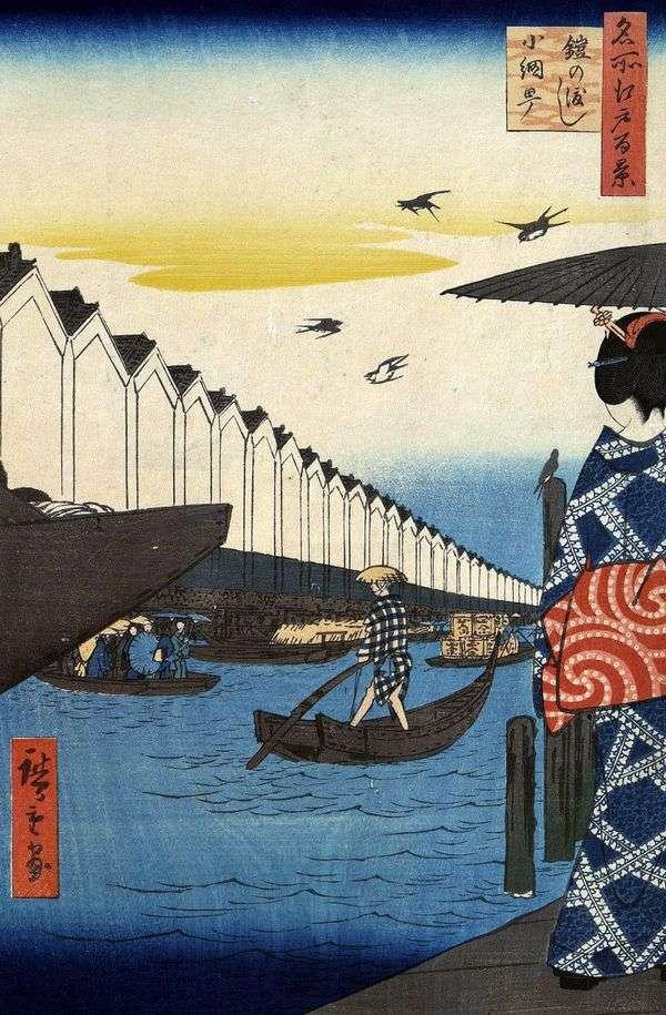 渡轮Eroi no vatasi到Coamite   Utagawa Hiroshige区