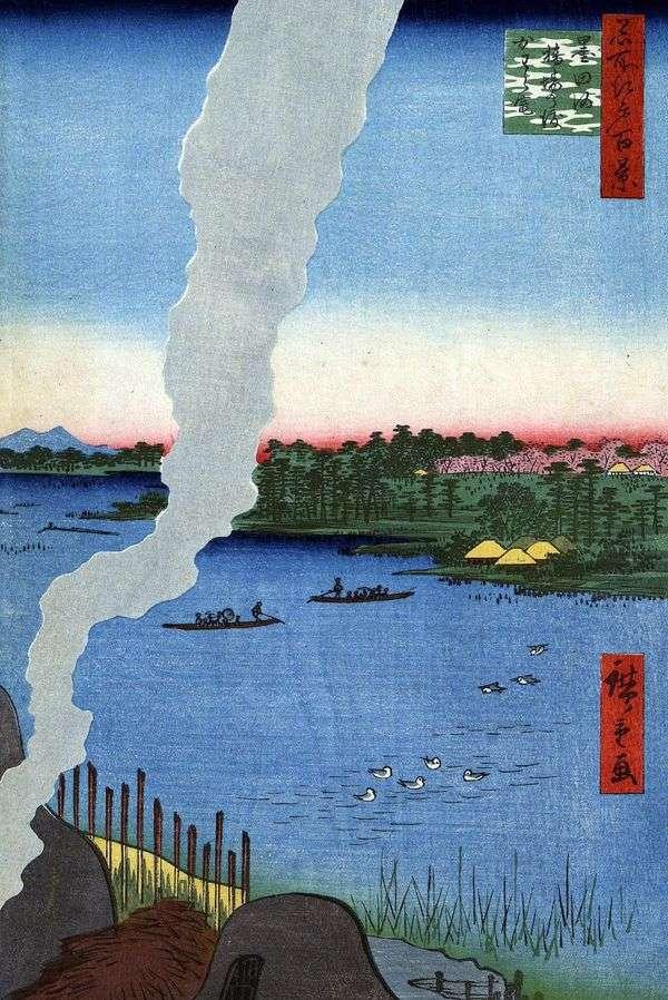 在Sumidagava   Utagawa Hiroshige的Hasiba no vatasi渡轮上烧烤窑