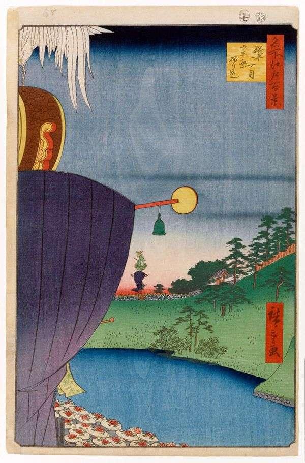 在Kojimachi   Utagawa Hiroshige的Sanno的节日游行