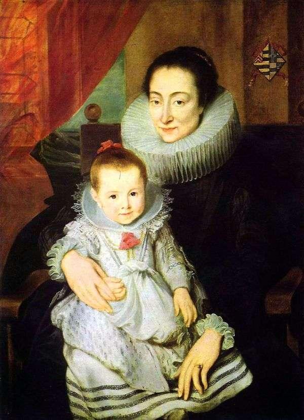 Jan Voverius的妻子玛丽 克拉丽莎的肖像,带着一个孩子   安东尼范戴克