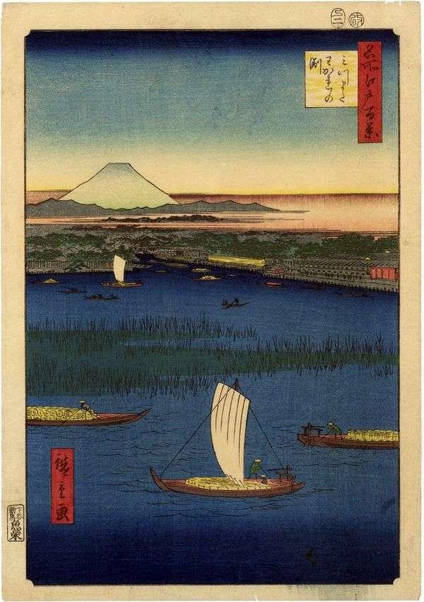 Mitsumata的管道。Wakare nofunti   Utagawa Hiroshige