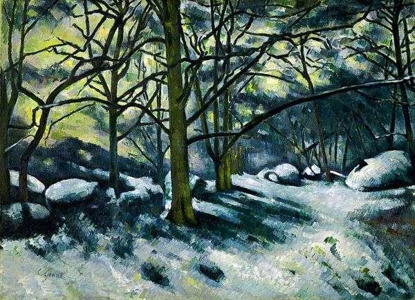 融化的雪在枫丹白露森林   保罗塞尚