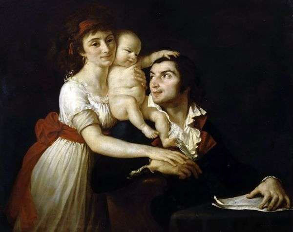 Camille Desmoulins与妻子Lucy和孩子   Jacques Louis David