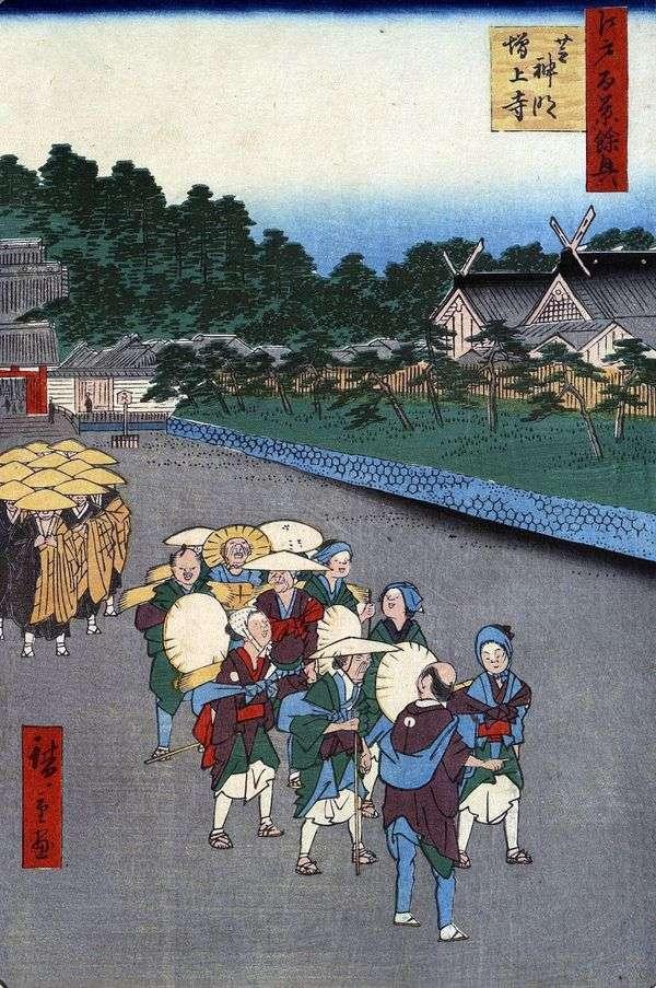Shiba Simmei Shrine,Sib的Zozedzi修道院   Utagawa Hiroshige