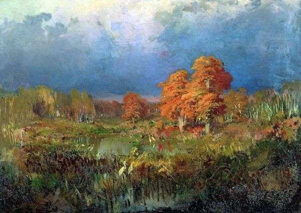 沼泽在森林里。秋天   Fedor Vasilyev