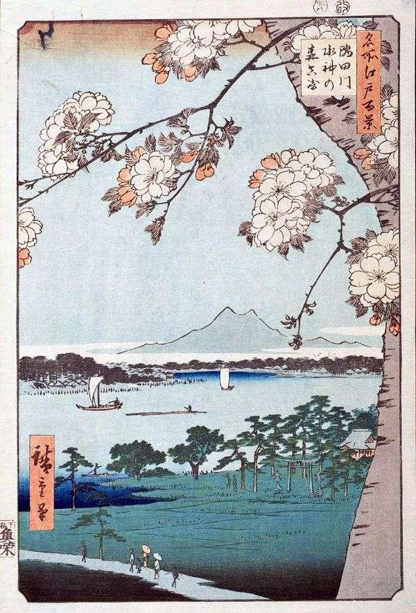 Sumidagawa河的Suijin no Mori Shrine和Massaki Territory