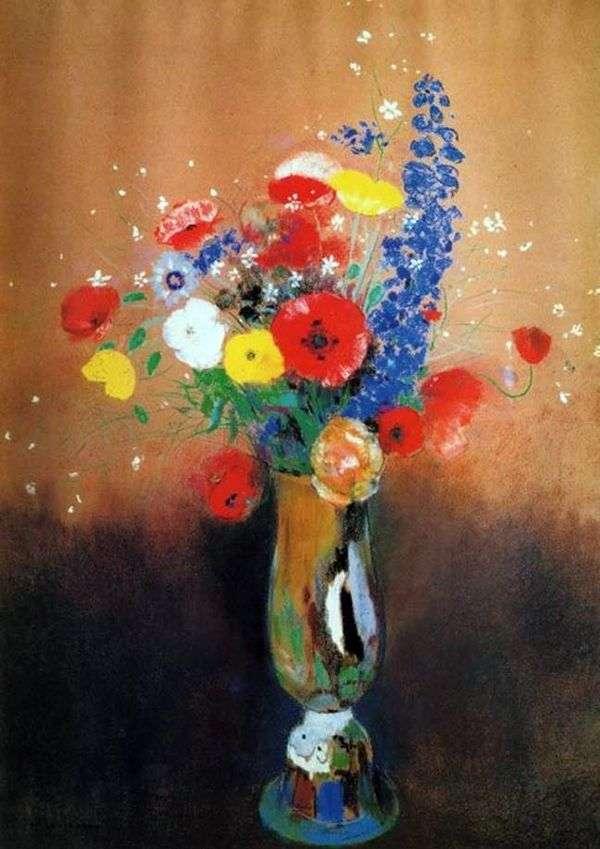 在一个高花瓶的野花   Odilon Redon