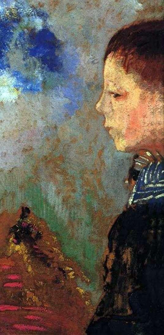 阿里的肖像与蓝领   Odilon Redon