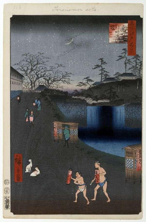 Aoidzaka斜坡门外虎之门   Utagawa Hiroshige