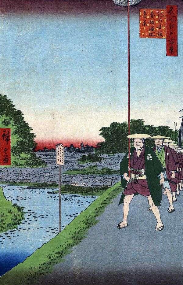 Kinokunizaka斜坡和赤坂池塘的远景在赤坂   Utagawa Hiroshige
