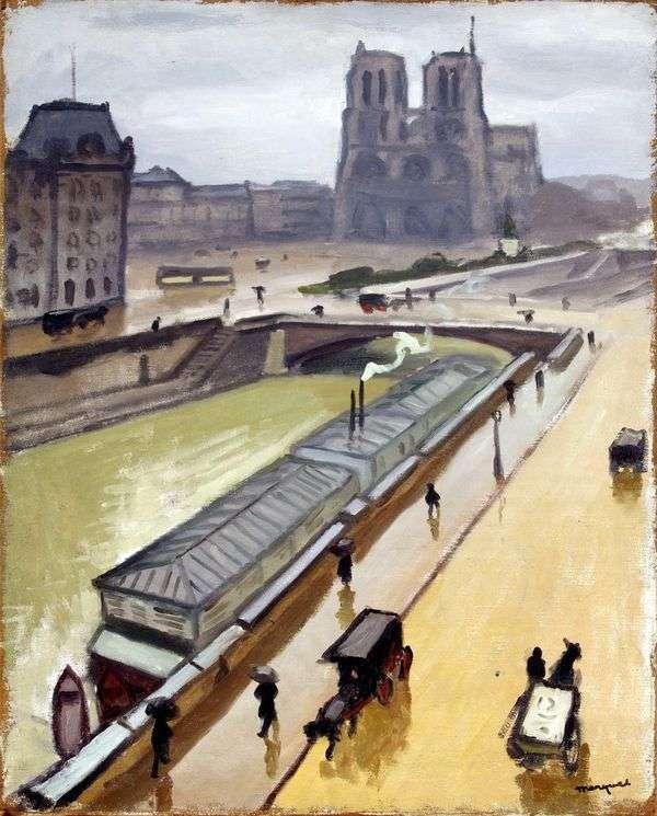 在巴黎下雨天。巴黎圣母院   阿尔伯特马奎特