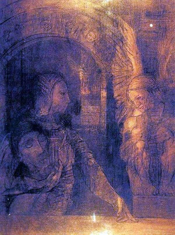 神秘的骑士或狮身人面像   Odilon Redon