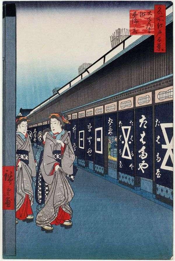 Odemmate区的街道工厂商店   Utagawa Hiroshige