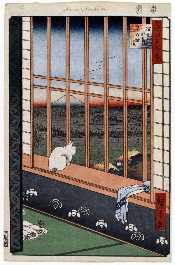 在Asakus稻田的Torinomati节日   Utagawa Hiroshige
