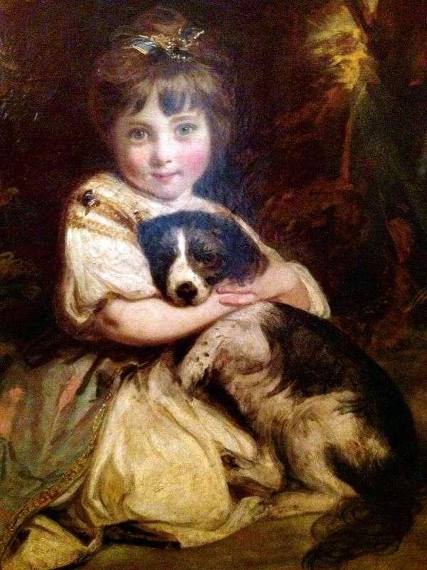 Bowles小姐画象有狗的   约书亚雷诺兹