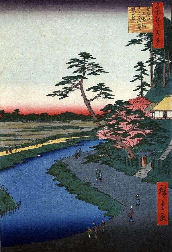 在Sekiguti   Utagawa Hiroshige区的渡槽附近的Tsubakiyama山上的小屋Basean