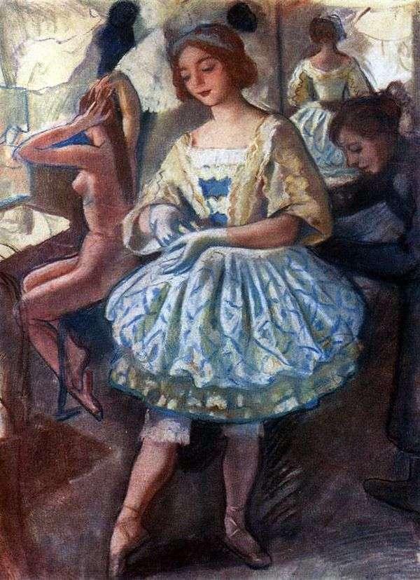 芭蕾舞女演员E. A. Svekis在芭蕾舞服装童话木偶中的肖像   Zinaida Serebryakova