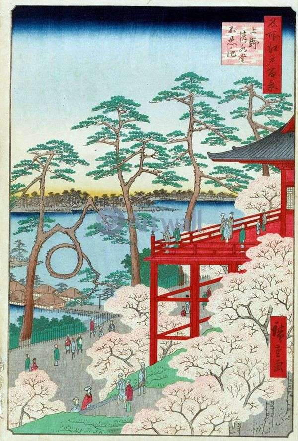 Kiyomizudo寺和Sinobadzu在上野没有ike池塘   Utagawa Hiroshige