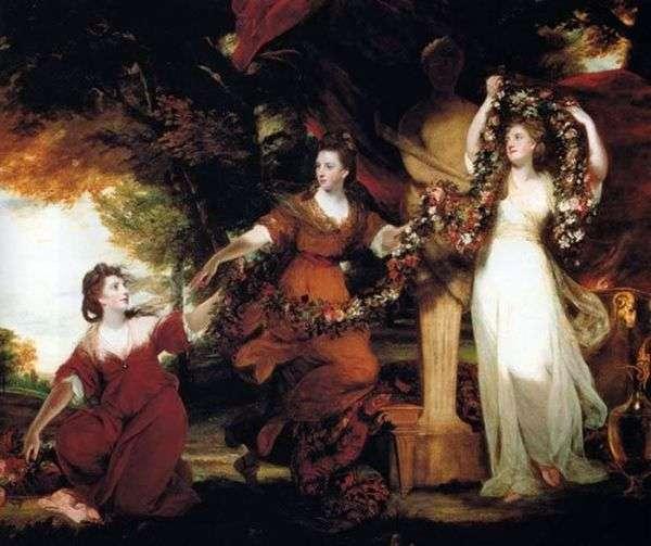 蒙哥马利的三个姐妹以雍容的形式,装饰与花Hymen雕象   约书亚雷诺兹
