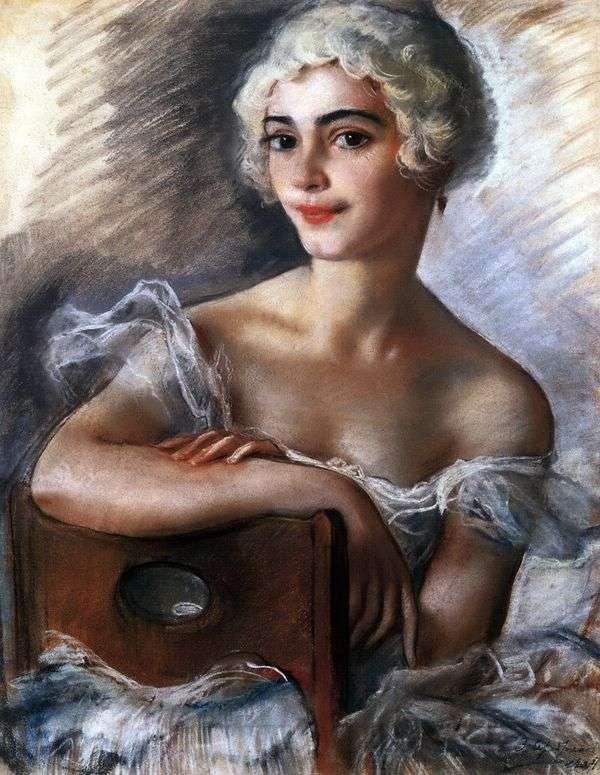 E. N. Heidenreich画象在一顶白色假发的   Zinaida Serebryakova