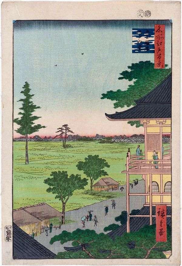 Gohya Kurakan修道院的Sadzae寺(五百罗汉)   Utagawa Hiroshige