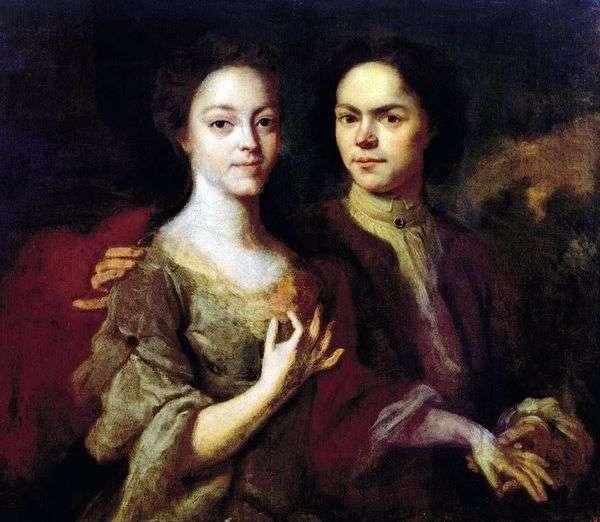 与妻子伊琳娜斯捷潘诺夫娜的自画像   安德烈马特维耶夫