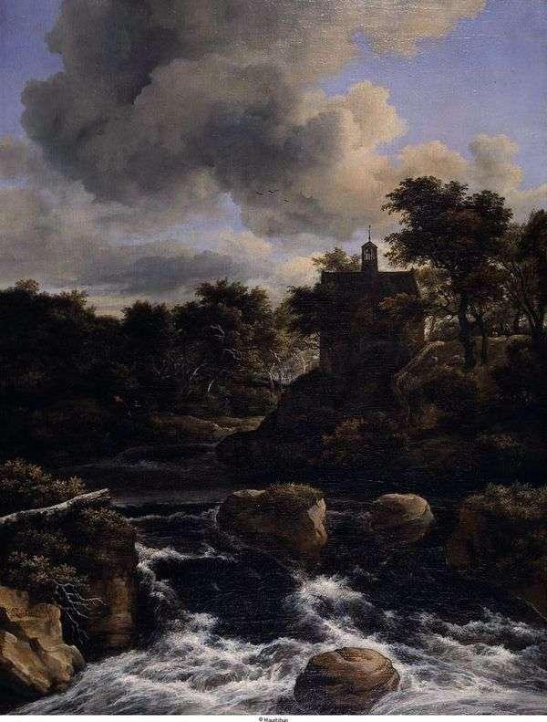 瀑布在森林里   雅各布van Ruisdal