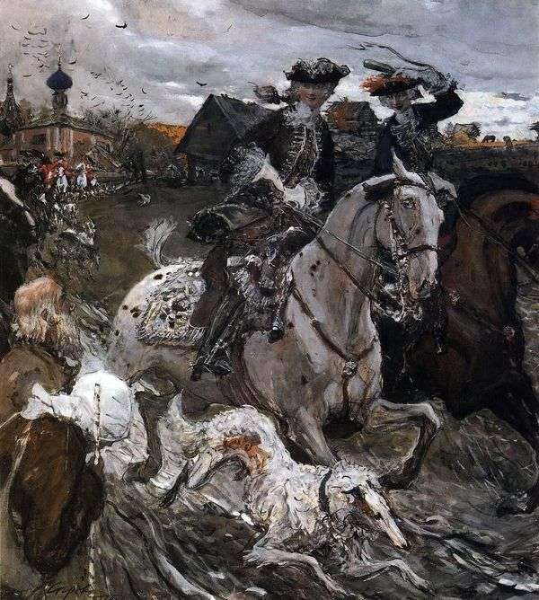 皇帝彼得二世和Tzarerevna伊丽莎白彼得罗夫娜离开狩猎   瓦伦丁塞罗夫