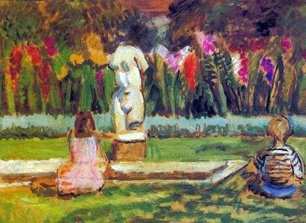 亨利埃塔和朱利安在查尔斯顿花园池塘   凡妮莎贝尔