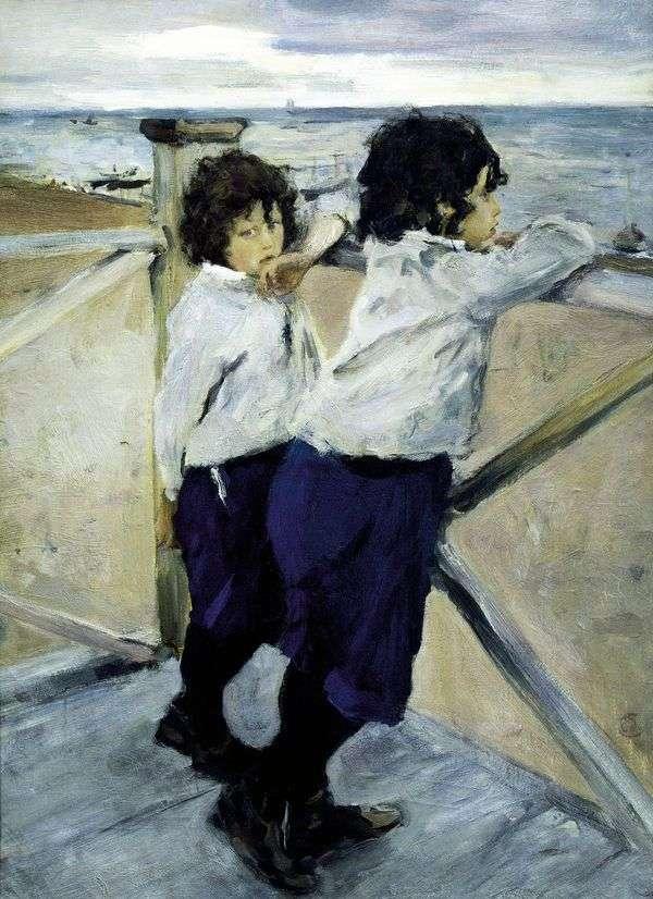海边的孩子(Sasha和Yura Serov)   Valentin Serov