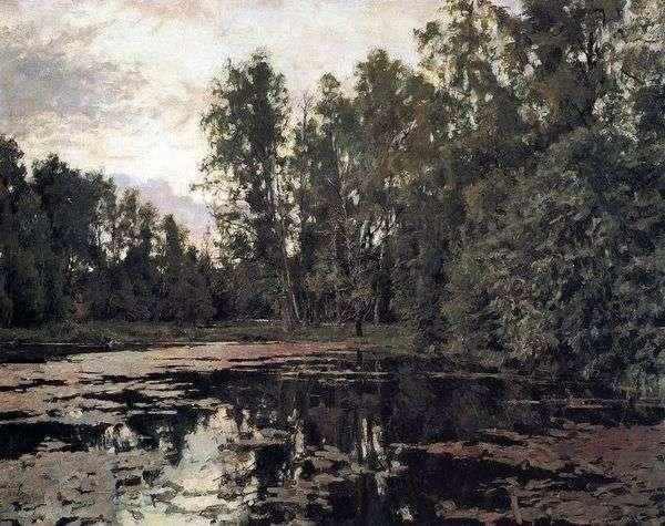 杂草丛生的池塘。Domotkanovo   Valentin Serov