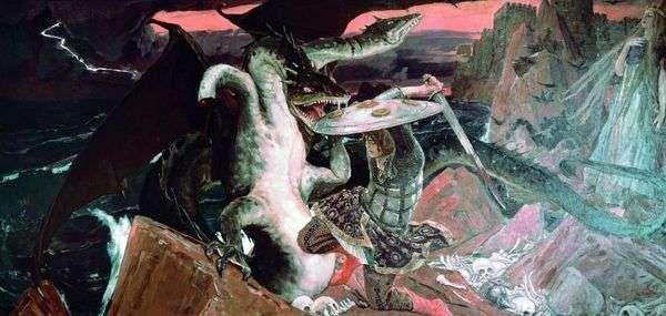 Ivan Tsarevich与三头蛇战斗   Victor Vasnetsov