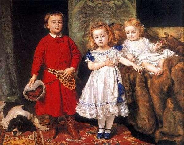这位艺术家的三个孩子的肖像   Jan Aloizy Mateiko