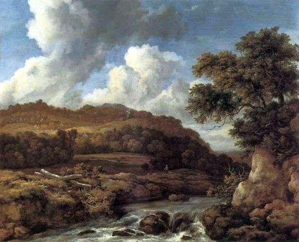 景观与树木繁茂的山丘和溪流   雅各布范瑞斯达尔