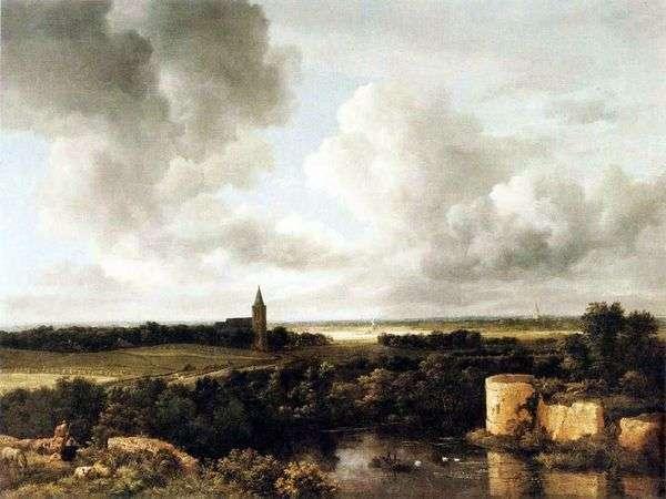 景观与城堡废墟和教堂   雅各布范Reisdal