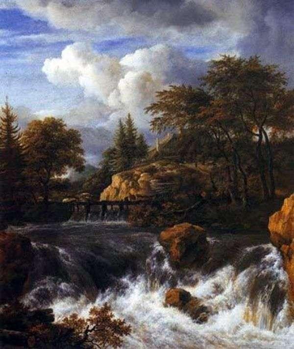 与瀑布的岩石风景   雅各布van Ruisdal