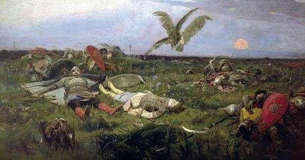 在与Polovtsy   Viktor Vasnetsov一起屠杀Igor Svyatoslavich之后