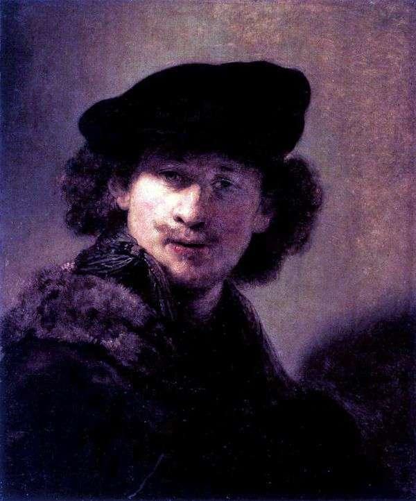 灯芯绒贝雷帽的自画像   伦勃朗哈门斯范莱茵