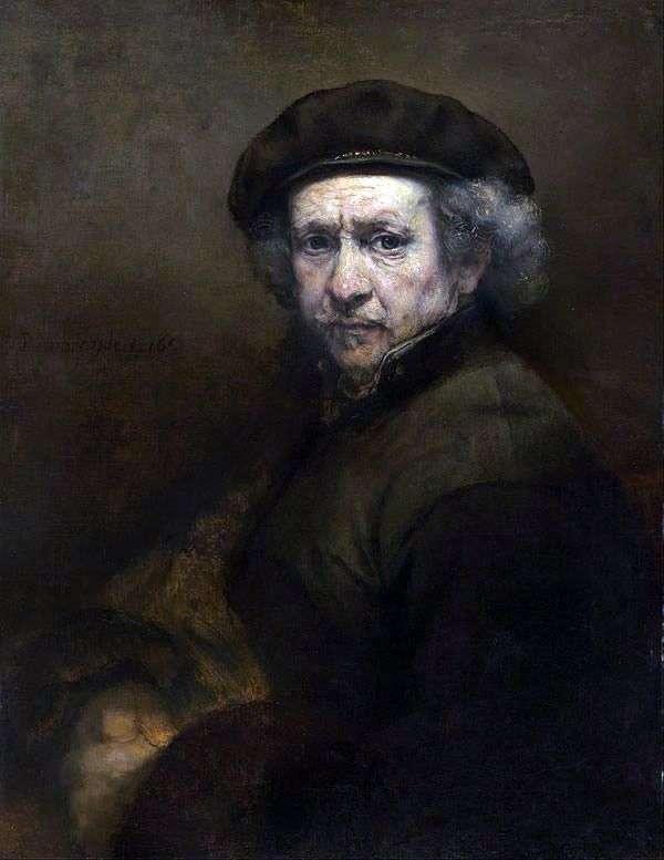 伦勃朗的自画像。镜子技术   伦勃朗Harmens Van Rhine