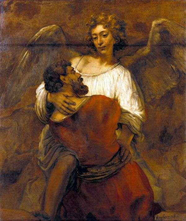 雅各布摔跤天使   伦勃朗哈门斯范莱茵
