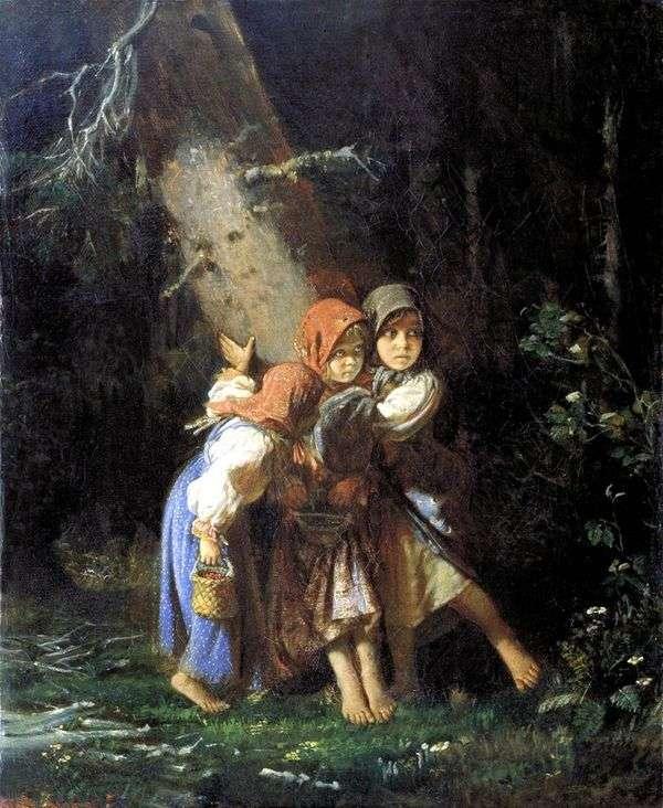 农民女孩在森林里   阿列克谢Korzukhin