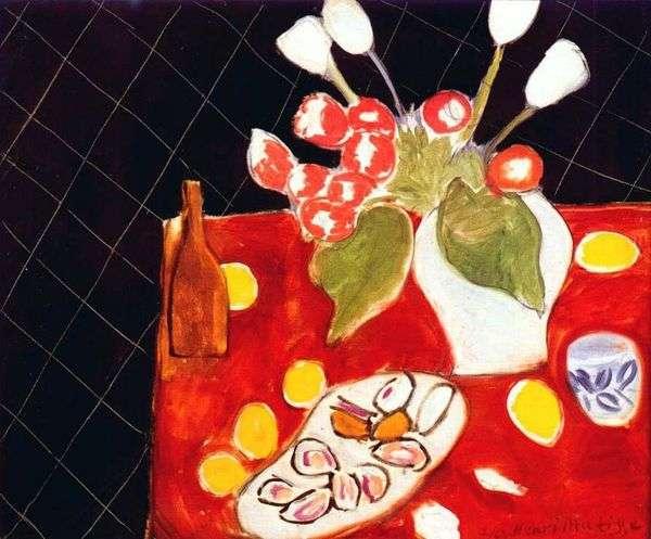 郁金香和牡蛎在黑背景   亨利马蒂斯
