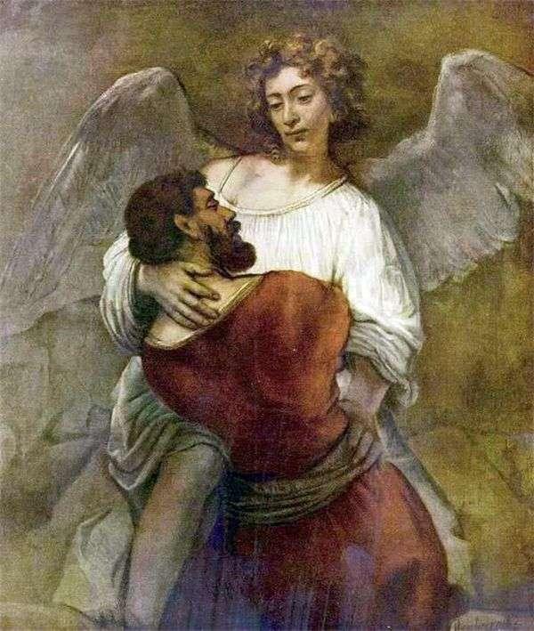 雅各布与天使搏斗   伦勃朗哈门斯范莱茵