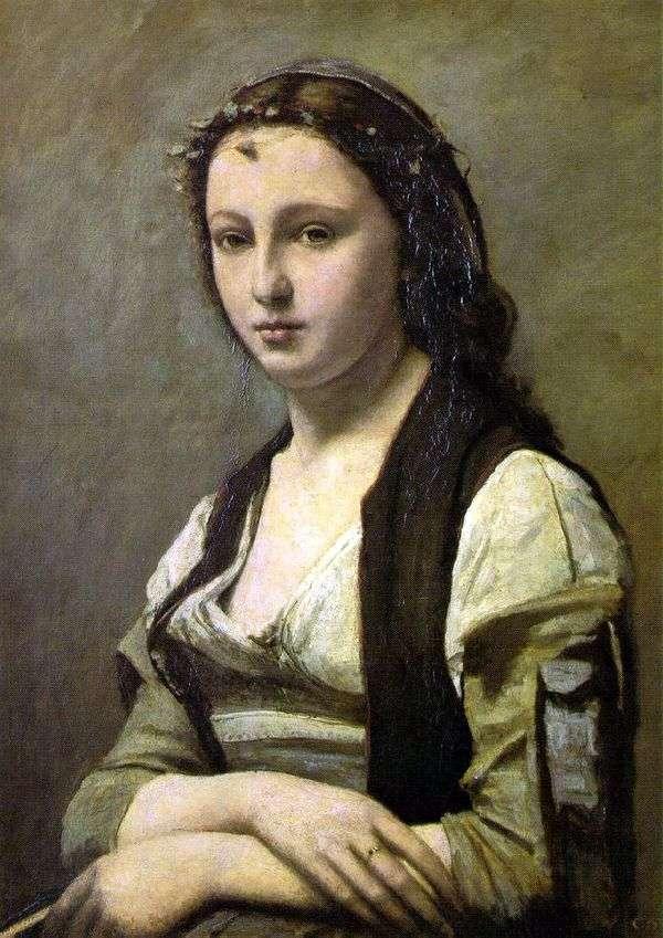 有珍珠的妇女   卡米尔Corot