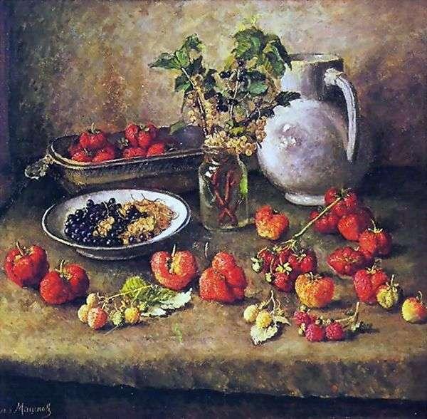 草莓和白色水罐   伊利亚马什科夫