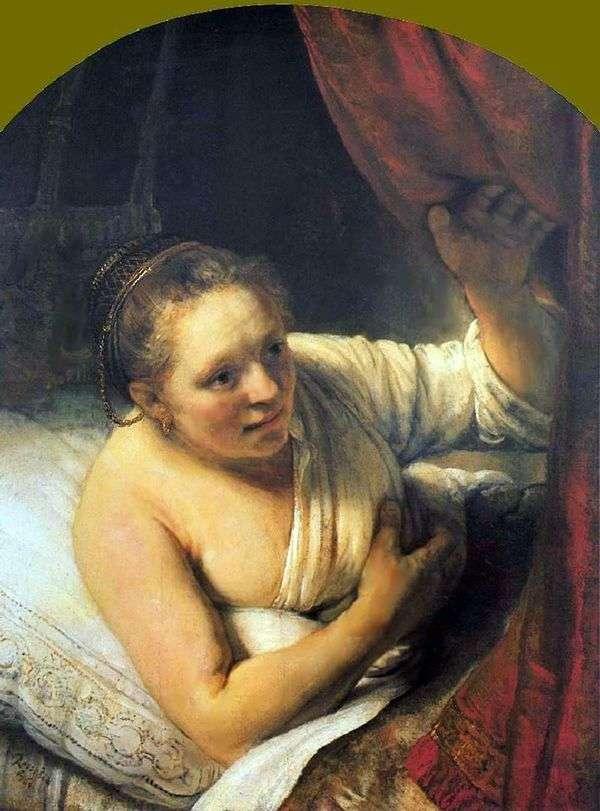 年轻女子在床上   伦勃朗哈门斯范莱茵河
