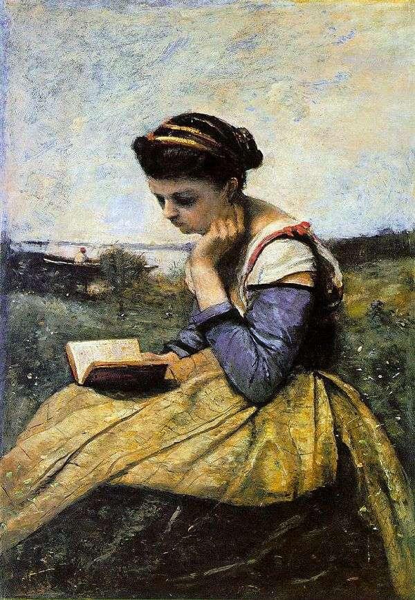 在风景的妇女读书   卡米尔Corot